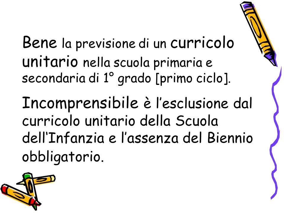 Bene la previsione di un curricolo unitario nella scuola primaria e secondaria di 1° grado [primo ciclo].